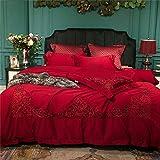 Spitze aus ägyptischer Baumwolle Hochzeit Bettwäsche Set Doppel-Size-Bett-Abdeckung weicher Bettwäsche Bettdecke Bettbezug-Set,Queensize4pcs