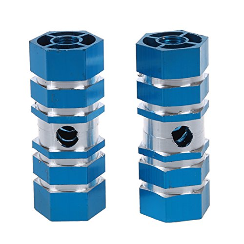YeBetter 2 x BMx Mountain Bike Bicycle Hexagonal Axle Pedal Alloy Foot Stunt Pegs Blue