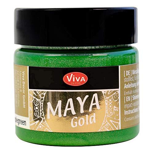 Viva Decor Maya Gold (Vert pomme,45ml) Couleur métallique - peinture brillante pour activité créative - peinture acrylique pour bois, carton, béton, papier, toile sur chassis ect…
