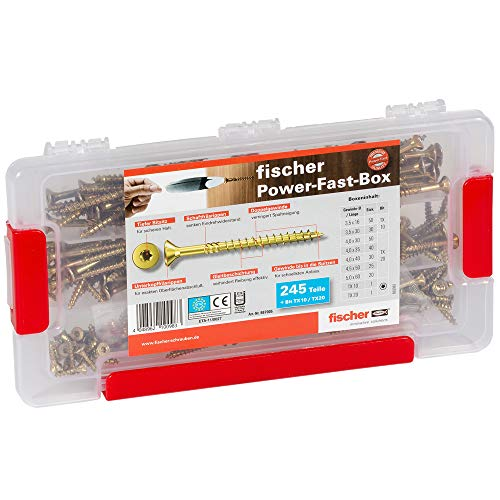 fischer Power-Fast Box - Sortimentsbox mit Premium-Spanplattenschrauben - Für zahlreiche Anwendungen in allen Holzbaustoffen - Senkkopf und Innenstern-Aufnahme TX - 245 Teile - Art.-Nr. 667005