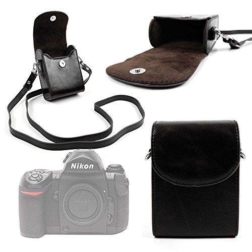 DURAGADGET Bolso De Piel/Estuche para Cámara Nikon FAA410NA | N1 AW1 | Olympus E-PL7 (1442) | Zenit E Cámara - Correa De Hombro Ajustable - Negro