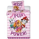 Paw Patrol, biancheria da letto per bambine, in cotone, rosa, con motivo di pura potenza, double-face, federa 40 x 60 cm, copripiumino 100 x 135 cm