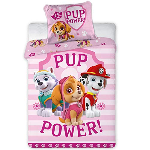 Paw Patrol Girls' Bed Linen · Children's Bedding · Cotton · Pink · PUP Power · Reversible Bed Linen · Pillowcase 40 x 60 cm Duvet Cover 100 x 135 cm