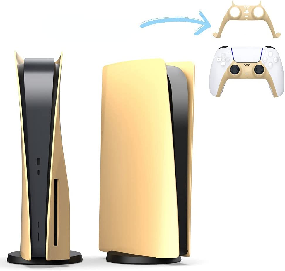 Faceplate Panel Anti-Scratch kin Shell Case Console Cover Game Accessories for PS5 Disc Edition (Gold)