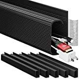 Cable Management 96'' J Channel - 6 Pack Cord Cover - Cable Raceway - Cable Management Under Desk with Adhesive Stripe Built-in 6 X 16in - Easy to Install Desk Cord Organizer- Cable Raceway, Black