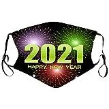 FFQY Adult 2021 Happy New Years Mundschutz, Mund und Nasenschutz, Bandana Face Cover Mouth Cover Waschbar Atmungsaktiv Multifunktionstuch Halstuch Mundbedeckung Schutz 5PC Mundschutz+ 10 Filters