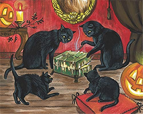 Refosian 8X10 Druck DER URSPRÜNGLICHEN MALEREI Halloween Schwarze Katze DYBBUK DIBBUK Box Spirit