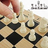 Scacchi in Legno 3 in 1 Set di Scacchiera in Legno Dama Giocattolo da Backgammon Pieghevole Portatile per Viaggio Giocattoli Educativi per Adulti Bambini (29x29 cm) #4