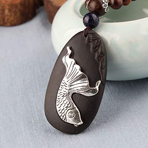 THTHT Vintage Halskette Pullover Kette Natürliche Sandelholz Carving Schwarz Koi Böhmisches Minimalistisch Einfache Männer Und Frauen Kreativ Zubehör Aus Goldlegierung