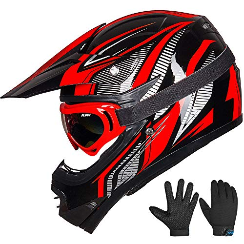 ILM Youth Kids ATV Motocross Dirt Bike Motorcycle BMX Downhill Off-Road MTB Mountain Bike Helmet DOT Approved (Youth-M, Red/Silver)
