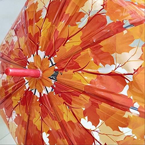 NJSDDB paraplu Vrouw Kid Regen Paraplu Creatieve Leuke Verse Pvc Transparante Paraplu Paddestoel Bladeren Kooiboog Transparante Paraplu, 04