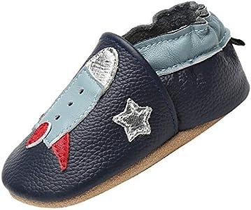 Zapatillas Bebe Niño Niña Blandos Flexibles Zapatos para Gatear Infantil Antideslizante Zapatitos Primeros Pasos Comodas Ligeros Pantuflas Bebé, Misil Negro 12-18 Meses