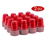 100ct 2oz Shot Glasses Disposable, Cute Red Mini Plastic Cups, Small Size Perfect for Party Games, Jello Shots, Jager Bomb, Tasting, Samples