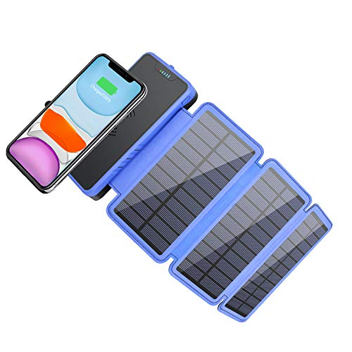 Solar Power Bank 20000mAh, Elzle Portable Solar Charger Qi Wireless Charger with 3 Solar Panel Charger External Backup Battery with Dual Ports for Samsung, etc