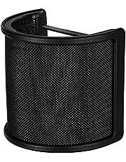 Tuloka マイクポップガード 金属ネット層 ウインドスクリーン ノイズ防止 マイクフィルタ 45mm-63mmのマイク対応 弾力ゴムバンド付属 (ブラック)