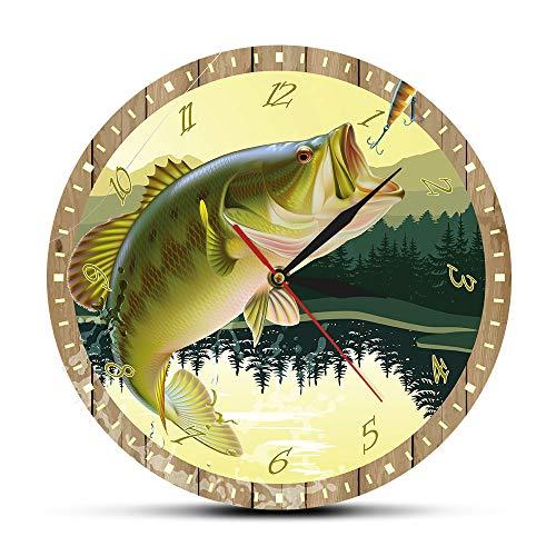 NIGU Día del miembro regalos para las mujeres es pescado O'Clock pescador hombre cueva bajo señuelo impresión a todo color Pesca reloj de pared modern