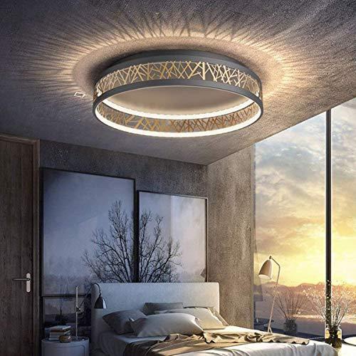 54W LED Deckenleuchte Dimmbar Schlafzimmer Lampe, Einzigartig Rund Schwarz Gold Aushöhlen Design Wohnzimmer Light, Arbeitszimmer Deckenlampe aus Eisen, Esszimmer Büro Leuchten mit Fernbedienung, Ø52cm