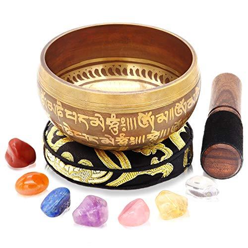 Tibetan Singing Bowl Set - 7 Chakra Crystal stones...