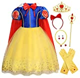 HenzWorld Little Girls Dresses Princess Costume Cape Birthday Party Cosplay Red Bow Jewelry Accessories Bow Headband Gloves Role Pretend Outfits Clothes Set 4-5 Years