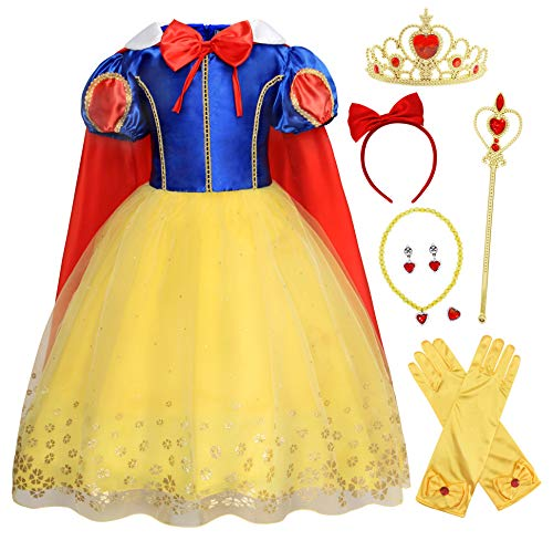 HenzWorld Little Girls Dresses Princess Costume Cape Birthday Party Role Pretend Cosplay Supplies Jewelry Accessories Headband Gloves Dress Up Outfits Blue Yellow Red Kids Age 7-8 Years