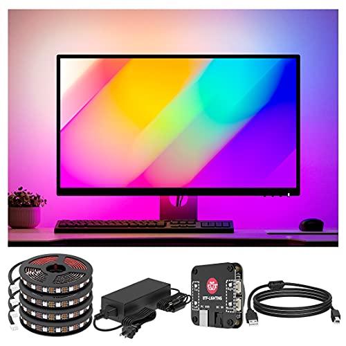 BTF-LIGHTING Monitor de PC de inmersión LED Backlights WS2812B IC Chip RGB IC Para 13-39 pulgadas Sincronizar los colores de los cuatro lados Fácil de instalar DIY Ambiemt PC Dream Screen Sólo Windows