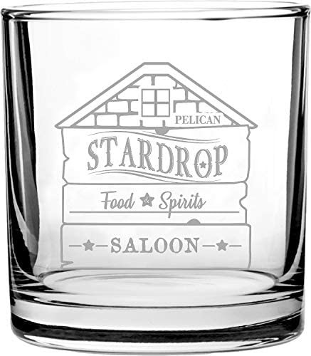 Stardrop Saloon Rustic Bar Food Game Parody Sign Logo 3D Laser Engraved Scotch Whiskey Glass product image