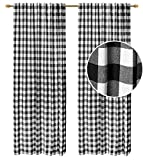 Check Tab Top Curtains, Farmhouse Cotton Curtains, Curtain 2 Panel Set, Gingham Plaid Cotton 50x108 Black/White Curtains, Reverse Window Panels, Curtain Drapes Panels, Bedroom Curtains, Set of 2
