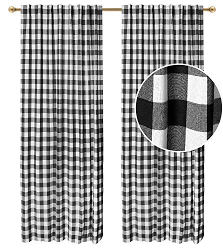 Juego de 2 cortinas de algodón a cuadros con trabillas, diseño de granja, juego de 2 paneles, de algodón a cuadros de cuadros de 127 x 274 cm, color blanco y negro