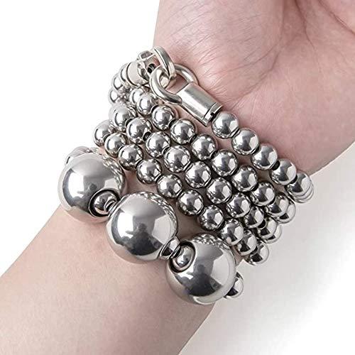 HEXL Acero Inoxidable Autodefensa Perlas de Buda Collar Pulsera De Mano De Metal Adecuado para Exteriores/emergencias/autodefensa 110cm (Color : 16-17cm)