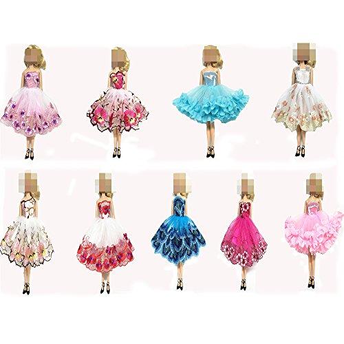 Lance Home® 6pz Embroidery Abito + 12 paia Scarpe Fatto a mano Moda Abiti da Sposa Partito Abito da Sposa e Vestiti per 29cm Bambole Regalo di Natale Stile Casuale