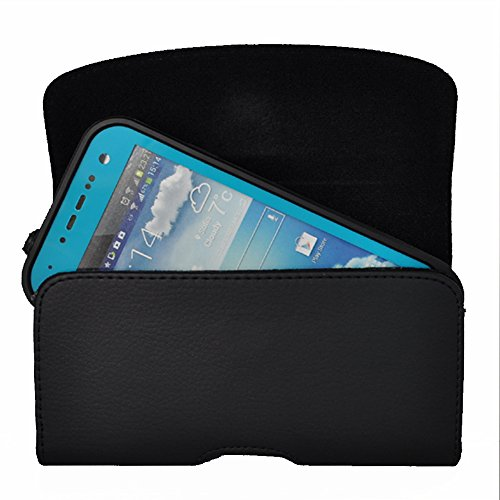 Kuteck Black Leather Belt Holster Pouch Clip Fits For Samsung Galaxy S10E / s6 / s6 edge / s5 / s4 / s3 Otterbox / Lifeproof / Mophie Juice Pack Air/Plus Case On. Includes A Black Stylus Pen