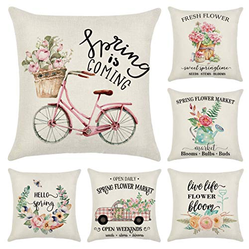 Faylapa 6 Stück Frühlings-Kissenbezüge, Fahrrad, Auto, Blume, dekorativer Kissenbezug, Heimdekoration, Sofa, 45 x 45 cm (nur Kissenbezug).