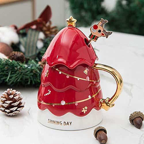 Taza de café de cerámica con diseño de árbol de Navidad de 450 ml, con tapa de estrella de la suerte, posavasos de fieltro de absorción, agitador de café de reno y cepillo para tazas, reutilizable para amigos, compañeros de trabajo, seres queridos (rojo)