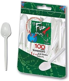 طقم ملعقة صغيرة بلاستيكية للاستعمال اليومي من فان ® 12.7 سم - أبيض - عبوة من 100 قطعة