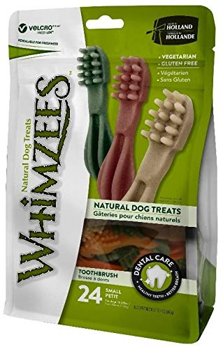 WHIMZEES Natürliche Getreidefreie Zahnpflegesnacks, Kaustangen für Hunde, Zahnbürste S, 24 Stück à 15 g