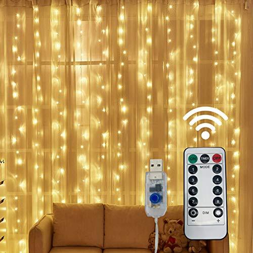 Vorhang Lichterketten, BINJCE 300 LED 3m * 3m Lichtvorhang, 8 Beleuchtungsmodi, Niederspannung 5V, Fensterdekoration, Weihnachten, Hochzeit, Geburtstag, Zuhause, Terrasse, wasserdicht IP65 Warmweiß