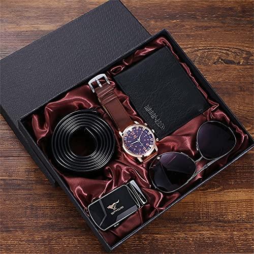 ZOZIZZ Fashion Watch Luxury Gifts Set para Hombres Gafas de Sol Top Calidad Cinturón Reloj de Pulsera Set de Billetera Plegable,Marrón