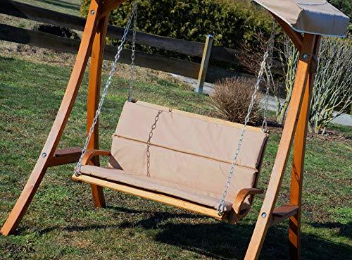 ASS Design Hollywoodschaukel Gartenschaukel Schaukelbank Rio aus Holz Lärche mit Dach und Polsterauflage braun - 2