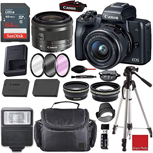 Canon EOS M50 Mirrorless Digital Camera (Black) with 15-45mm Lens +Sandisk 64GB Memory Card + Camera Padded Case + Deluxe Accessory Bundle