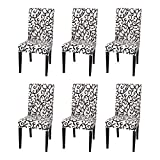 Argstar 6 Pack Dining Chair Covers, Stretch Printed Armless Chair Slipcover for Dining Room, Spandex Kitchen Parson Chair Protector Cover, Removable & Washable, Stone Grey