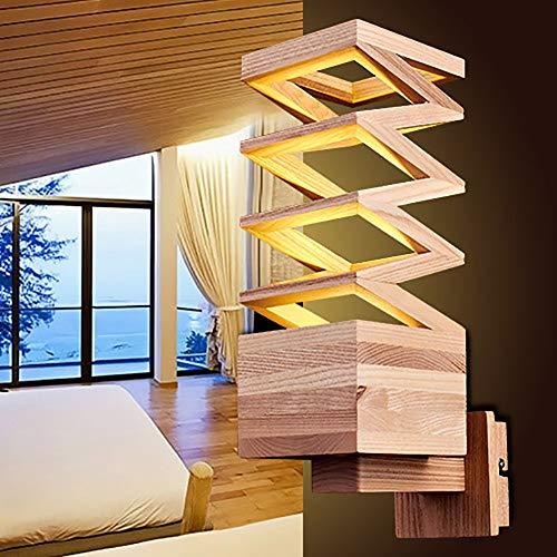 LXSEHN Nordique Créatif Naturel Bois Massif Applique, Personnalité Simple Chambre Salon Restaurant Rayon Applique Illumination lampes lanternes