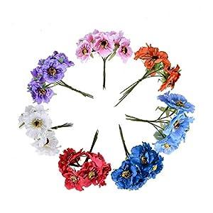 LYLY 6pcs 3.5cm Silk Cherry Artificial Poppy Bouquet DIY Handmade Tattoo Wreath Scrapbook Wedding Fake Flower (Color : Purple)