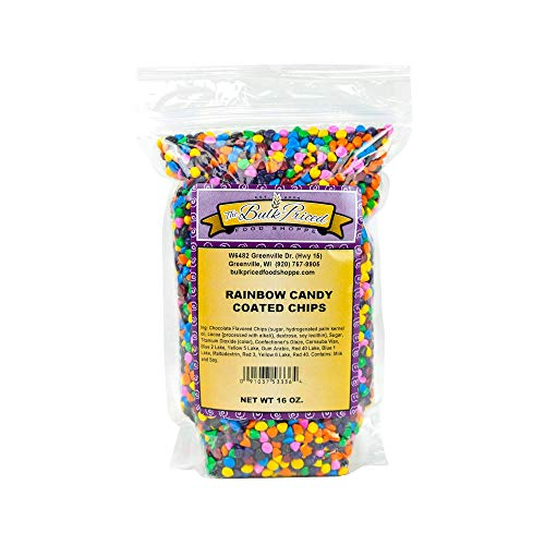 Rainbow Candy Coated Chocolate Chips, Bulk Size (1 lb. Resealable Zip Lock Stand Up Bag)