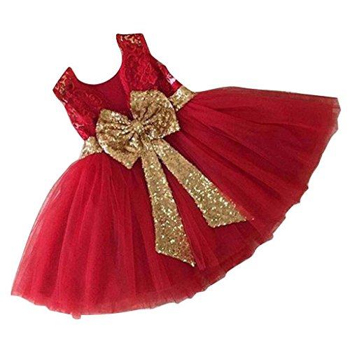 Inlefen Girls Bowknot Lace Princess Skirt Summer Lentejuelas Vestidos para bebés niños pequeños 0-5 años de Edad Rojo 80/0-1 año