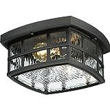 "Quoizel SNN1612K Stonington Outdoor Flush Mount Ceiling Lighting, 2-Light, 120 Watts, Mystic Black (6"" H x 12"" W)"