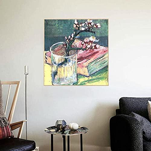 RuiChuangKeJi Opera d'Arte Pittura 80x80 cm Senza Cornice Van Gogh Fiore di Mandorla in Fiore Libro in Vetro Stampa Poster retrò Nordic Gallery Decorazione dell'immagine del Soggiorno