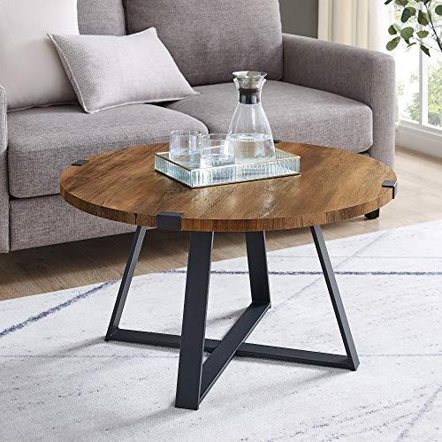 Walker Edison Anastasia Modern Metal Wrap X Base Coffee Table, 30 Inch, Rustic Oak and Black