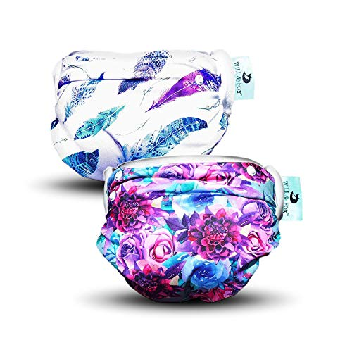 Reusable Swim Diapers for Girls by Will & Fox   Adjustable Snaps for Babies & Toddlers - 0-2 Years   Eco-Friendly Washable Swimming Diaper – Floral & Tribal Feather – 2 Pack
