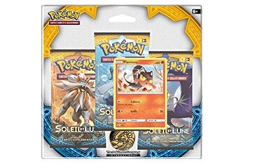 Asmodee - Lote de 3 potenciadores Pokémon + tarjeta Flamiaou SL 1 - Sol y luna