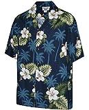 Pacific Legend Men's Hibiscus & Palm Hawaiian Shirt (XL, Navy)